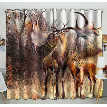 PHFZK Autumn Landscape Window Curtain, Family Beautiful Reindeer with Trees Sky and Rocks Artwork Window Curtain Blackout Curtain For Bedroom living Room Kitchen Room 52x84 inches Two Piece (Windows 7 Family)