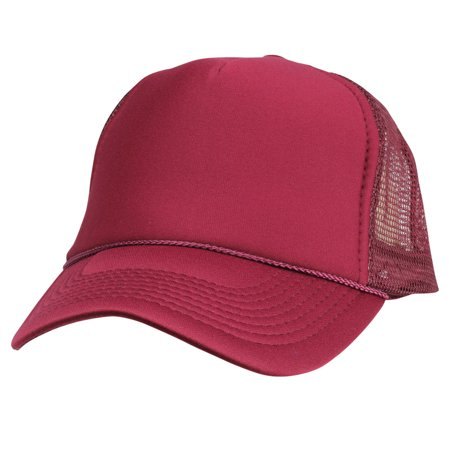 a4d10b4017f DALIX Trucker Cap Mesh Hat with Solid Colors and Adjustable Strap and Small  Braid in Maroon