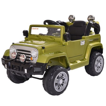 Jaxpety Kids Ride On 12V Jeep Style Battery Powered Toy Vehicle Remote Control w/ MP3 LED Lights, Green ()