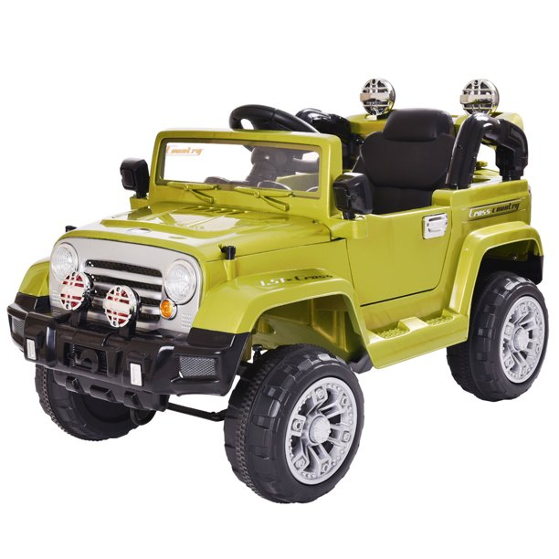 Jaxpety Kids Ride On 12v Battery Powered Toy Vehicle Remote Control W Mp3 Led Lights Green Walmart Com Walmart Com