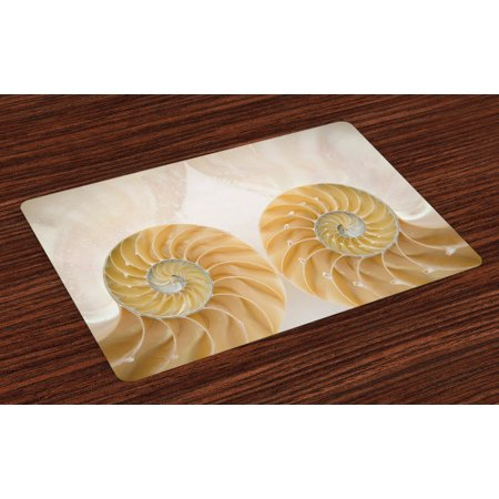 Seashells Placemats Set Of 4 Close Up Inside Out Two Sides Seashell Geometric Mirrored