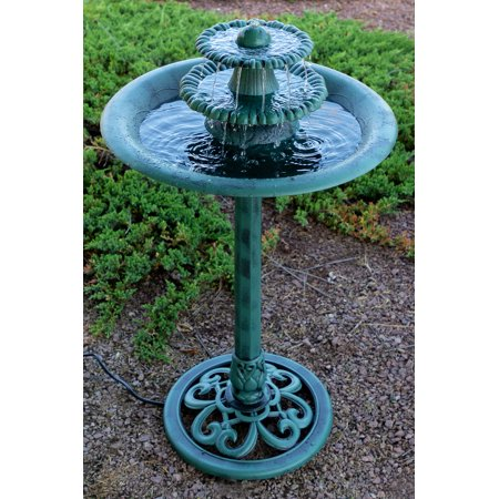 - Alpine Tiered Classic Pedestal Garden Water Fountain and Birdbath, Dark Verdigris Green Finish, 35 Inch Tall
