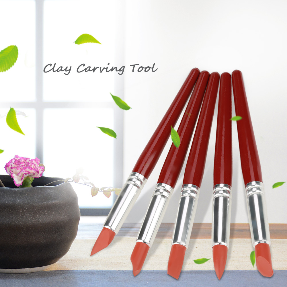 Lv. life 5pcs Red Large-sized Rubber Tip Paint for Clay Sculpture Pottery Shaping Carving Tool, Pottery Carving Tool,Rubber Tip Paint