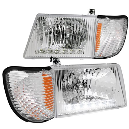 - Spec-D Tuning  1992-2006 Ford Econoline Van Head Light W/ Corner Clear (Left + Right) 92 93 94 95 96 97 98 99 00 01 02 03 04 05 06