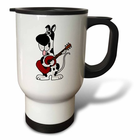 3dRose Harlequin Great Dane Playing the Guitar, Travel Mug, 14oz, Stainless Steel