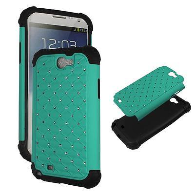 For Samsung Galaxy Note 2 N7100 Aqua Bling Hybrid Drop Protective Shock Proof Shock Absorb Enhanced Bumper Dual Layer Designer Case Shield Plane Case Hard Cover