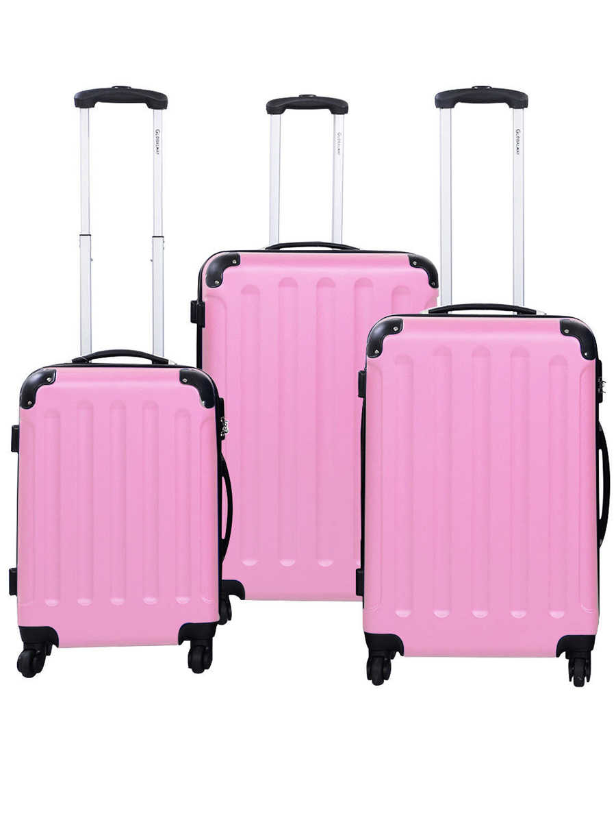 Set of 3 Size Pink Suitcase Luggage Travel Set Multi Directional Wheels
