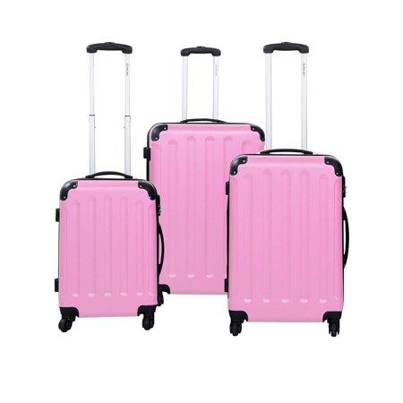 GLOBALWAY 3 Pcs Luggage Travel Set Bag ABS Trolley Suitcase (Pink Trolley)