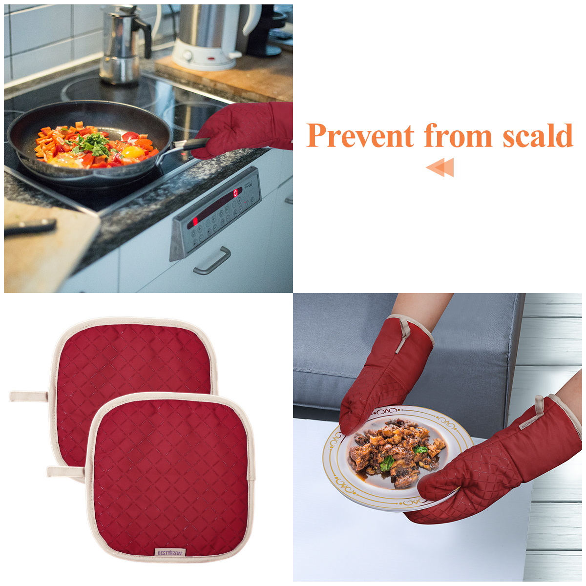 BESTONZON 1 Set Useful Heat Resistant Protective Oven Mitts for Microwave Oven