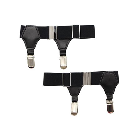 Pair of Premium Adjustable Men High End Sock Garters Suspenders Double Sturdy Clips For Cotton/Silk