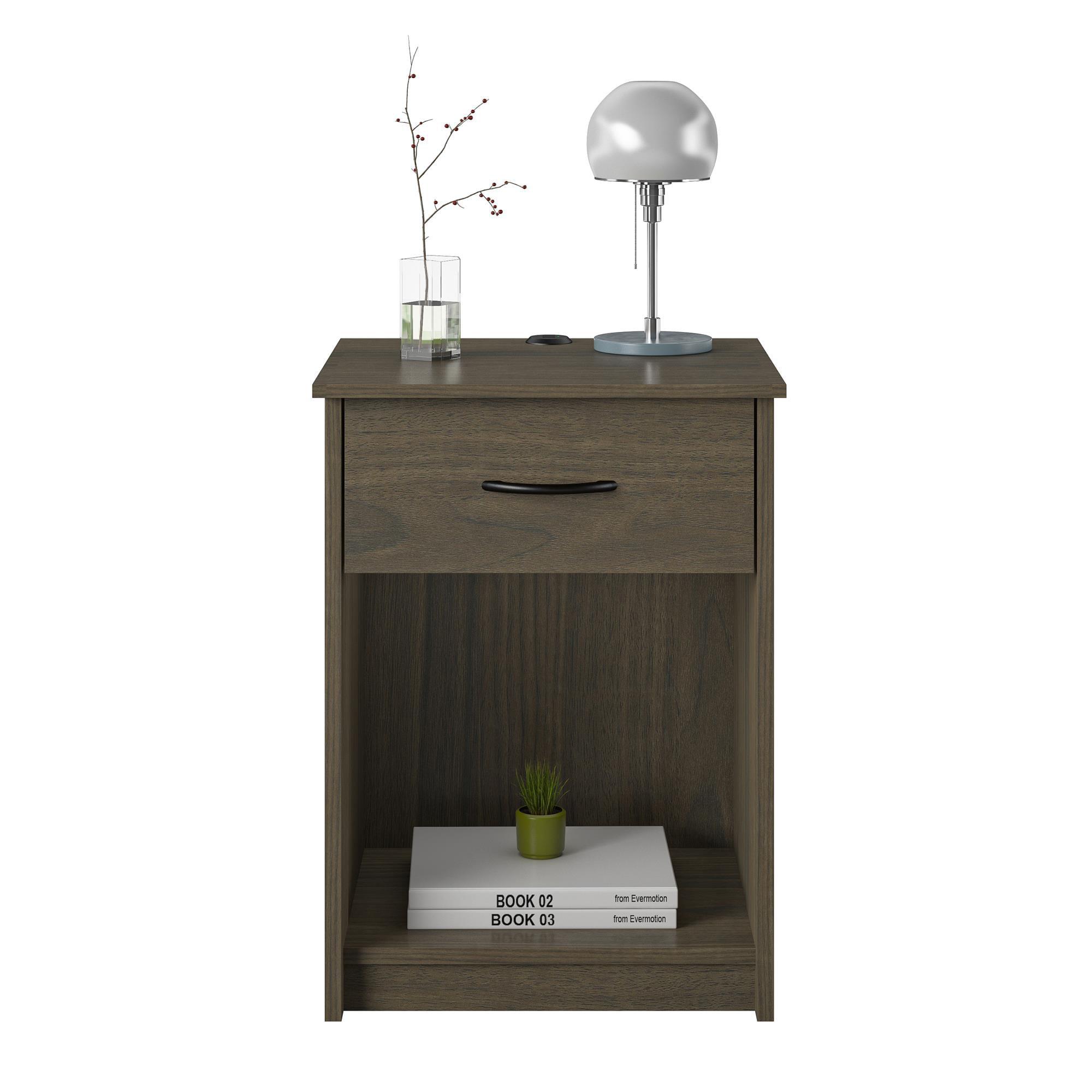 mainstays 1 drawer nightstand end table espresso walmart com rh walmart com
