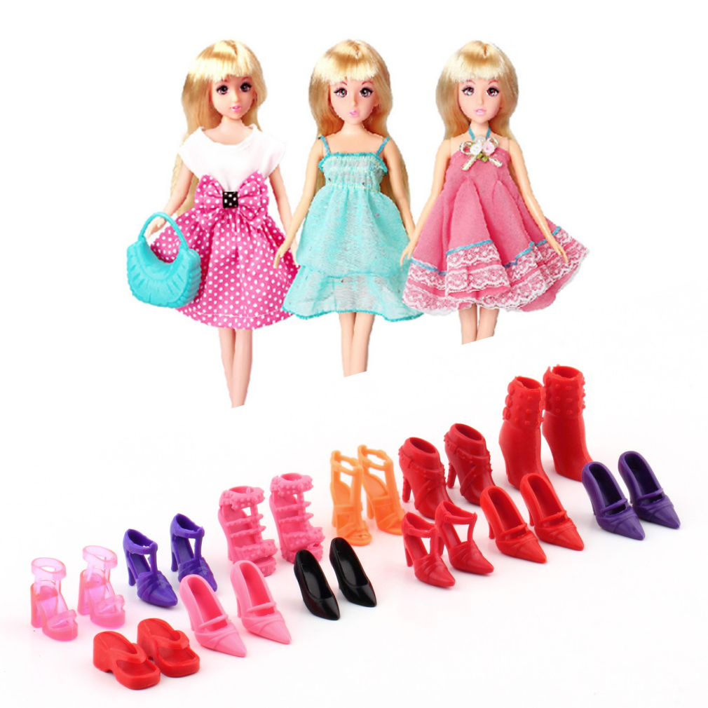 Colorful Assorted Shoes Different Styles Fashion 12 pairs Cute For Barbie Doll