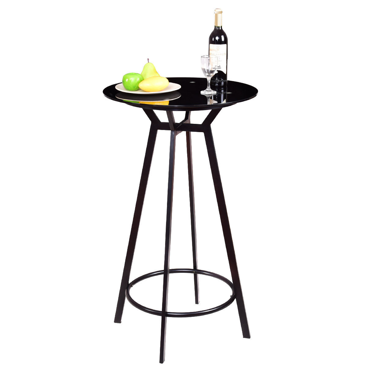 Costway Modern Round Pub Table Glass Top Metal Frame Bar Bistro Pub Furniture Black by Costway