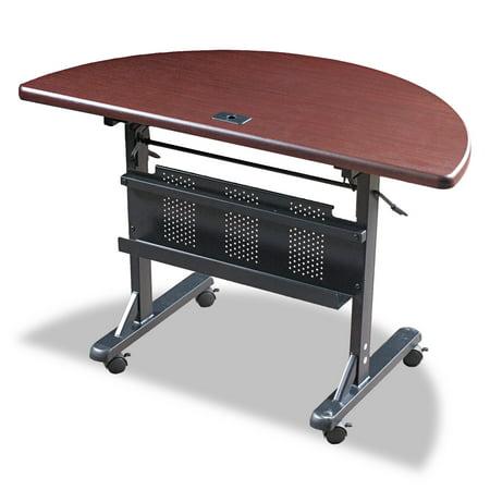 BALT Flipper Training Table, Half-Round, 48w x 24d x 29-1/2h, Mahogany/Black