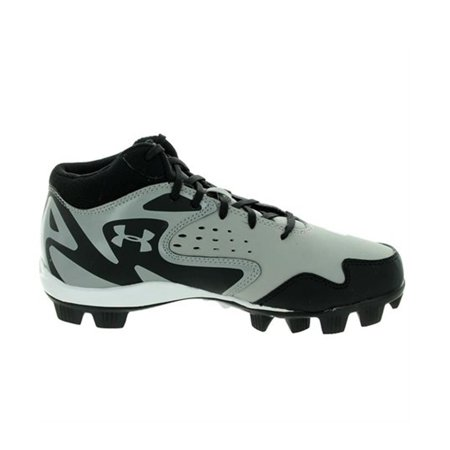 bf4aea130ae UNDER ARMOUR LEADOFF MID RM JR GREY   BLACK YOUTH MOLDED BASEBALL CLEATS  11K - Walmart.com