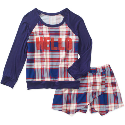 Miss Star Girls' Hello Long Sleeve with Tulip Skort Outfit