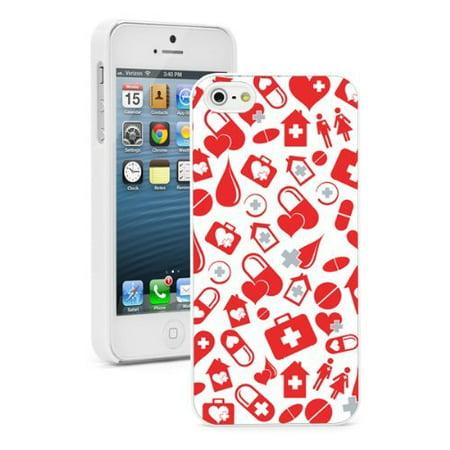 Apple Iphone  6 Plus   6S Plus  Hard Back Case Cover Red Medicine Nurse Doctor Pattern  White