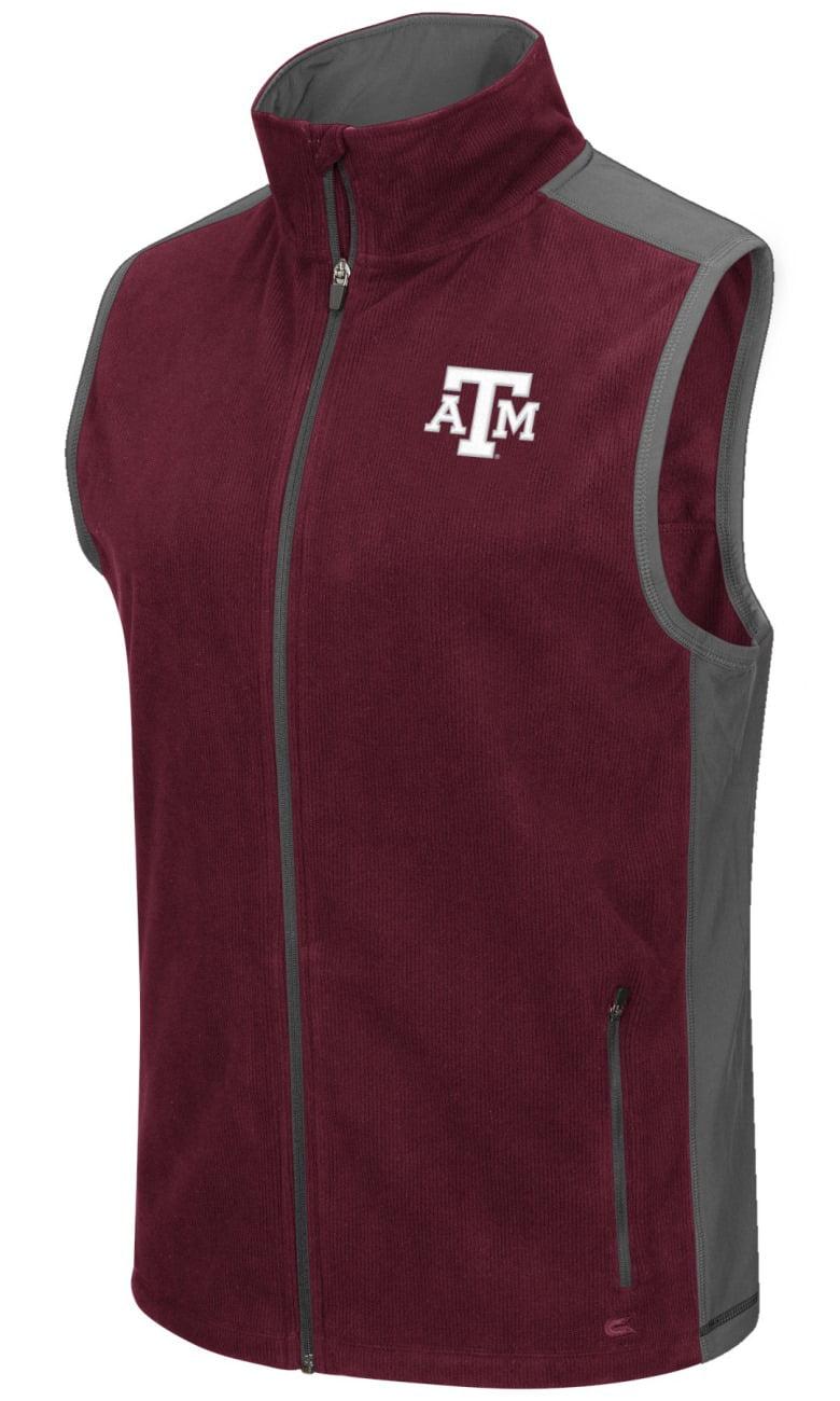 """Texas A&M Aggies NCAA """"Mesa"""" Full Zip Men's Polar Fleece Vest by Colosseum"""