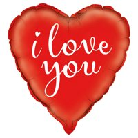 """Foil Heart Shaped """"I Love You"""" Balloon, Red, 18in"""