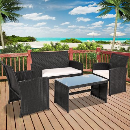 Best Choice Products 4-Piece Wicker Patio Furniture Set w/ Tempered Glass, 3 Sofas, Table, Cushioned Seats - (Discount Wicker Furniture)