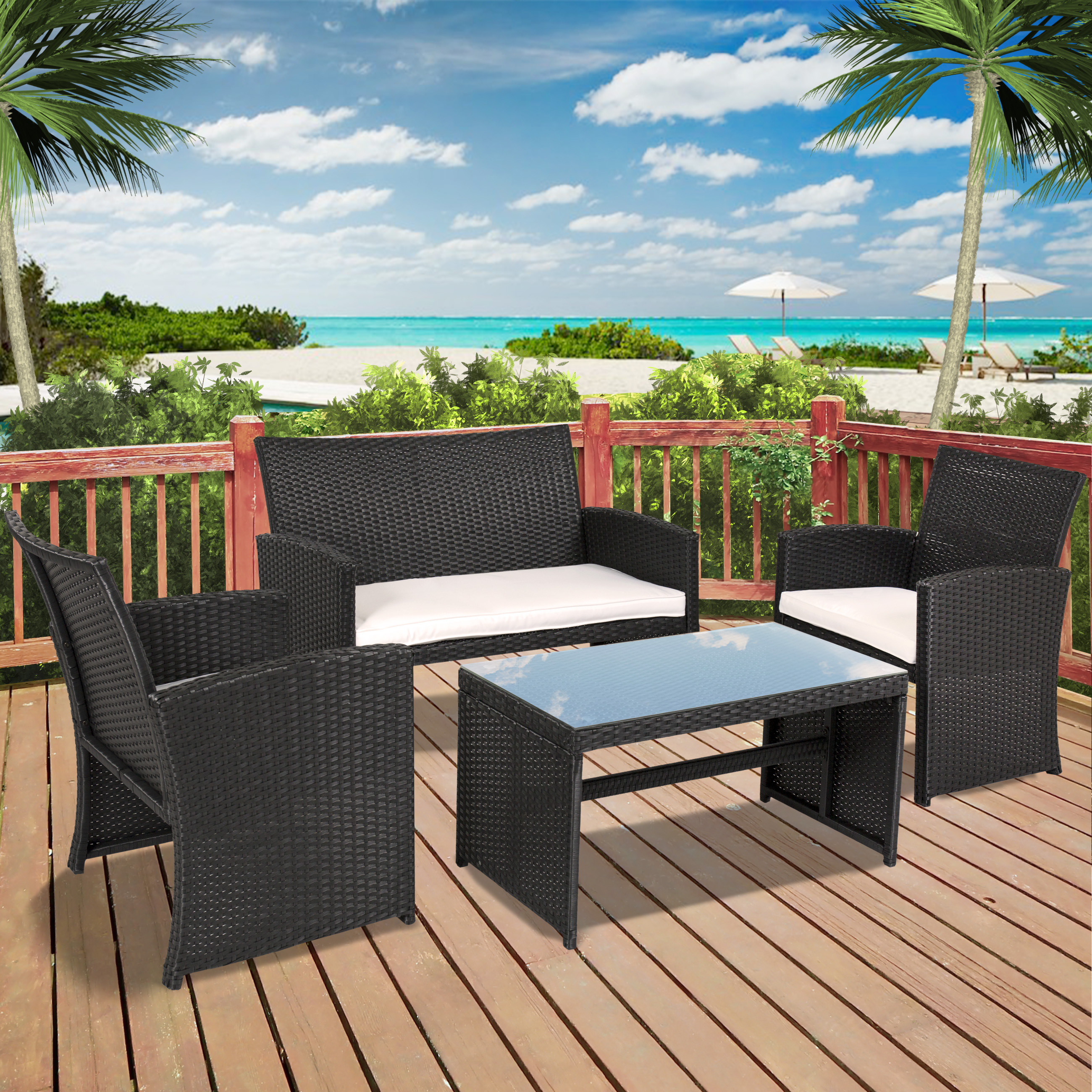BCP 4-Piece Wicker Patio Furniture Set w/ Tempered Glass, Sofas, Table, Seats