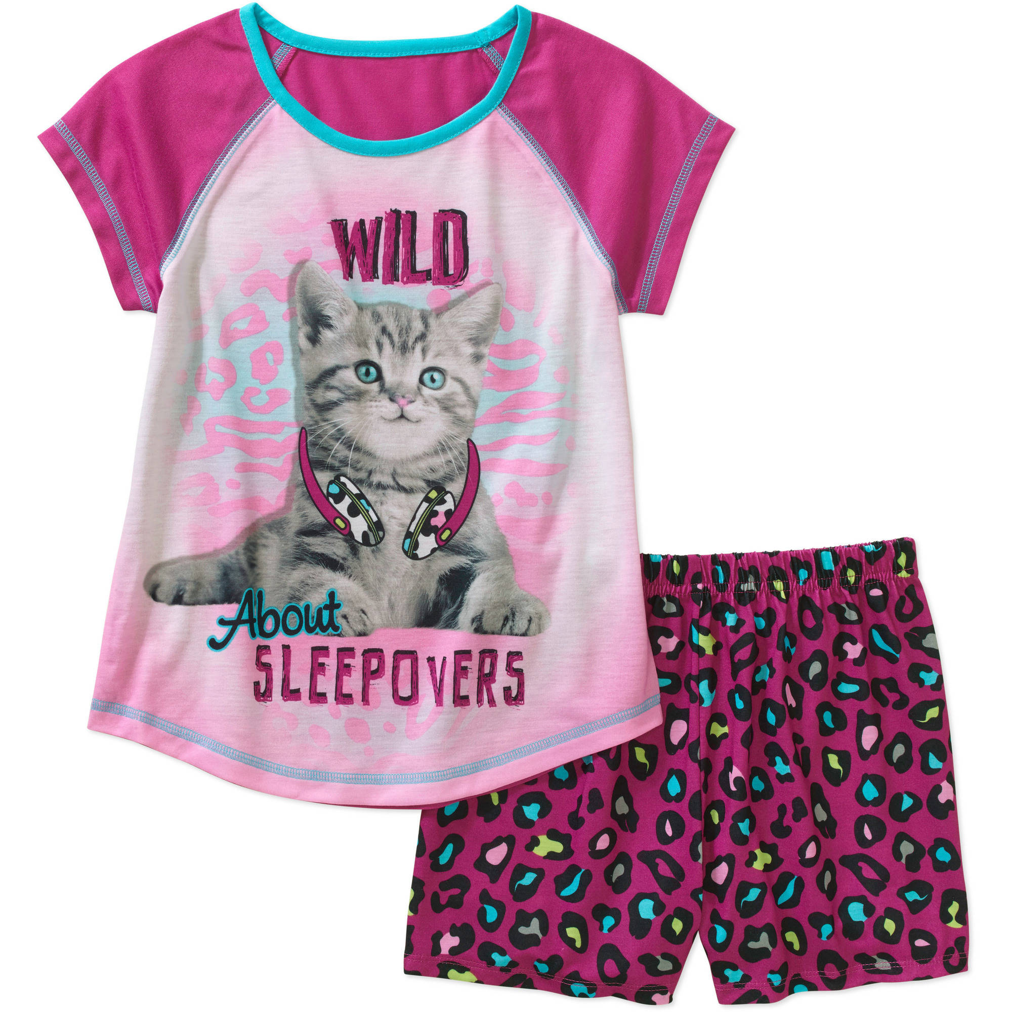 Girls' Photo Real Graphic Sleep Tank Top and Short 2 Piece Pajama Set