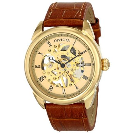 Invicta Men's 17186 Specialty Analog Mechanical Hand Wind Brown Leather Watch Hand Wind Watch Series