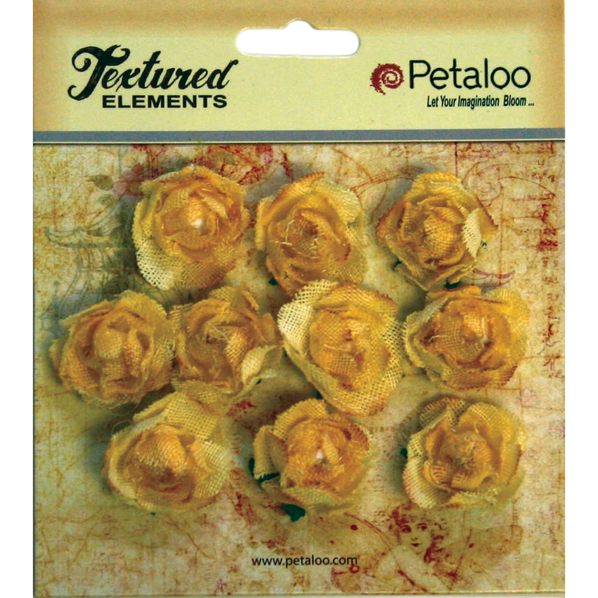 "Textured Elements Mini Canvas Rosettes 1"" 10/Pkg-Yellow"