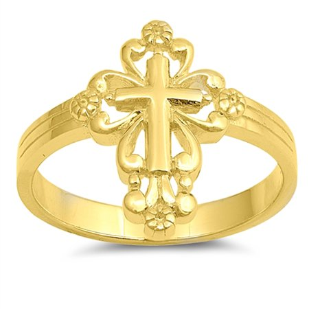 CHOOSE YOUR COLOR Gold-Tone Victorian Cross Christian Ring New 925 Sterling Silver Band (Yellow Gold-Tone/Ring Size (Grateful Dead Silver Ring)