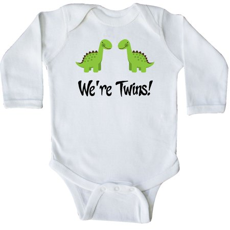 Inktastic Twins Dinosaur Babies Long Sleeve Creeper Multiples Kids Twin Boys Hws