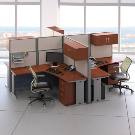 Bush Office In An Hour Melamine L Shaped Quad Workstation Computer Desk picture