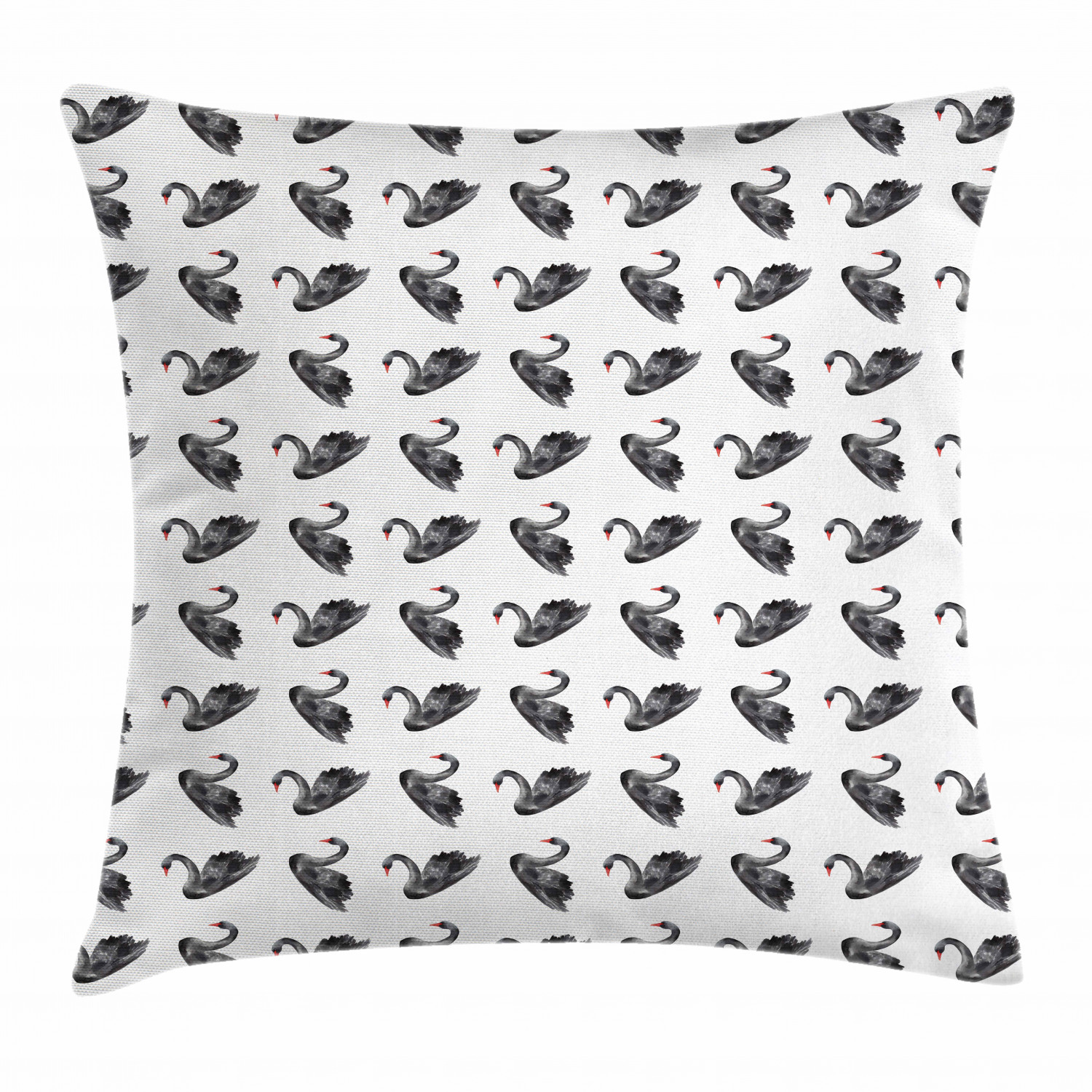 Swan Throw Pillow Cushion Cover Black Swan Aquarelle Illustration Symbols Of Peaceful Nature And Purity Decorative Square Accent Pillow Case 16 X 16 Inches Charcoal Grey White Red By Ambesonne Walmart Com