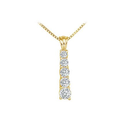 Cubic Zirconia Journey Pendant 14K Yellow Gold 1.00 CT CZs - image 1 of 2
