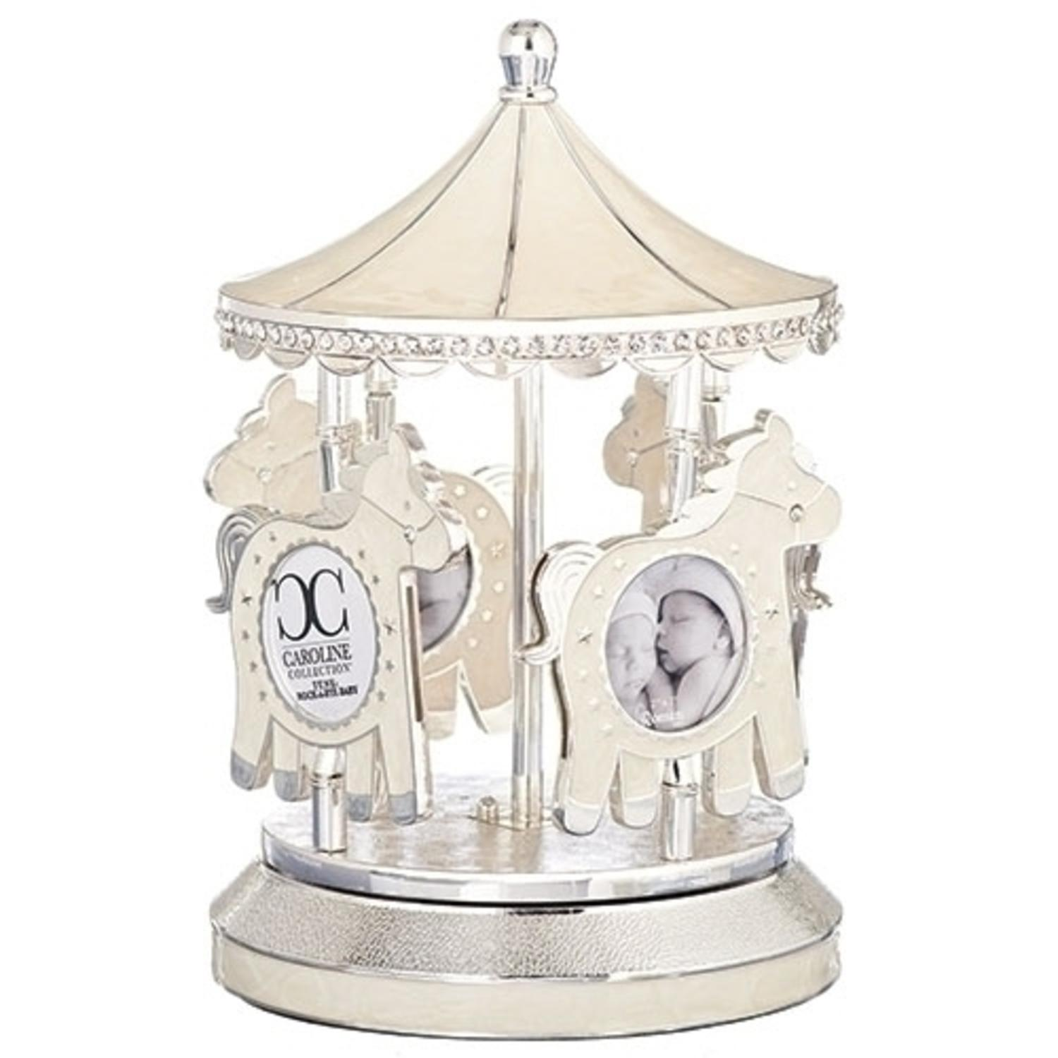 Set of 2 Musical Rotating Ivory Baby Carousel with Picture Frames 7.87""