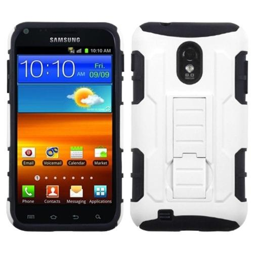Insten White/Black Car Armor Stand Case (Rubberized) for SAMSUNG D710 (Epic 4G Touch) R760 (Galaxy S II) S2 4G