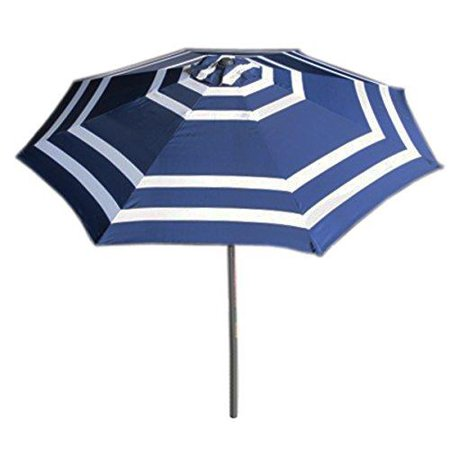 Vmi 9 Wide Striped Aluminum Adjule Umbrella With Crank Navy Blue And White