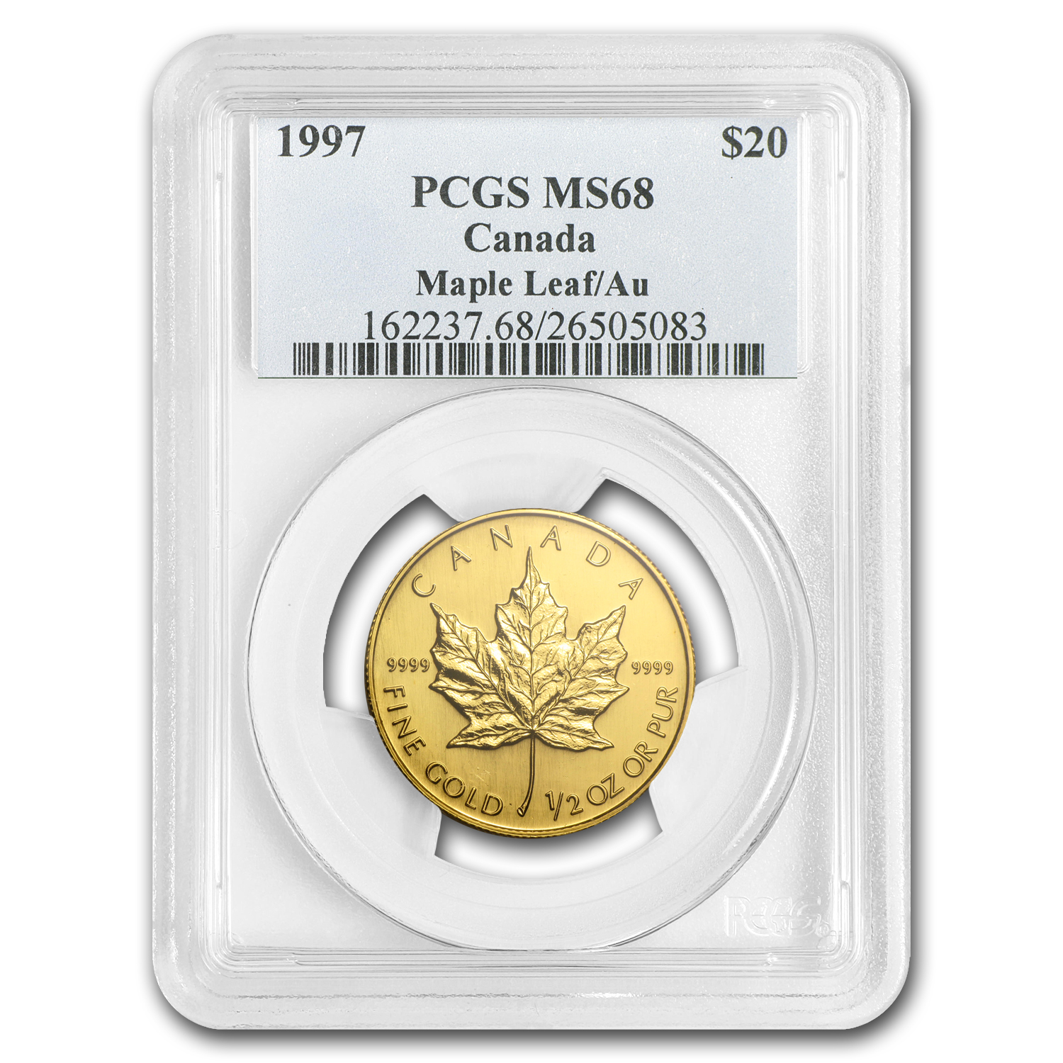 1997 Canada 1/2 oz Gold Maple Leaf MS-68 PCGS