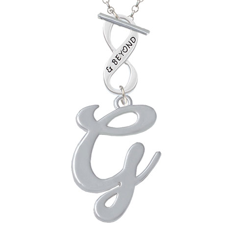 Large Gelato Script Initial - G - & Beyond Infinity Toggle Chain Necklace