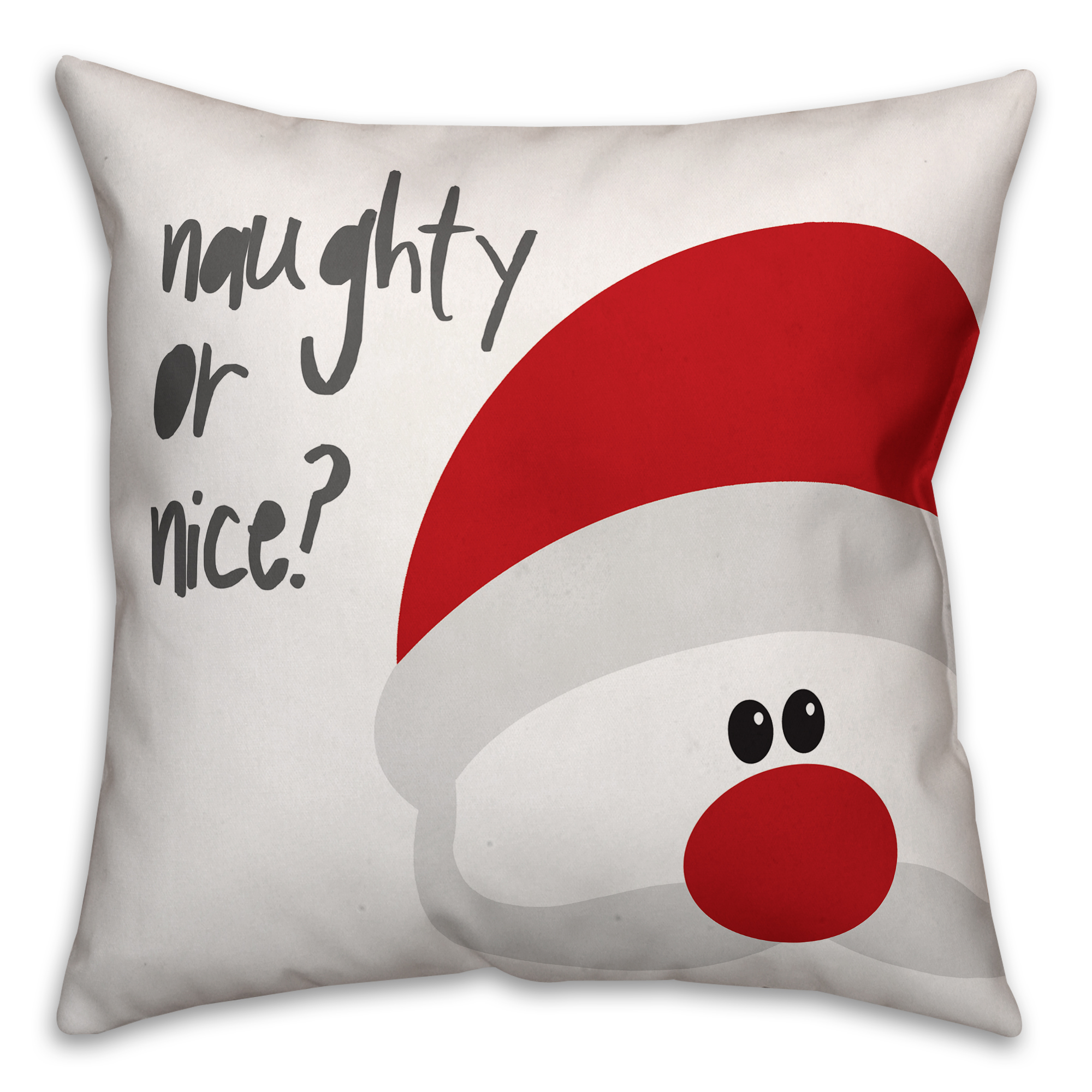 Santa Naughty or Nice 16x16 Spun Poly Pillow Cover