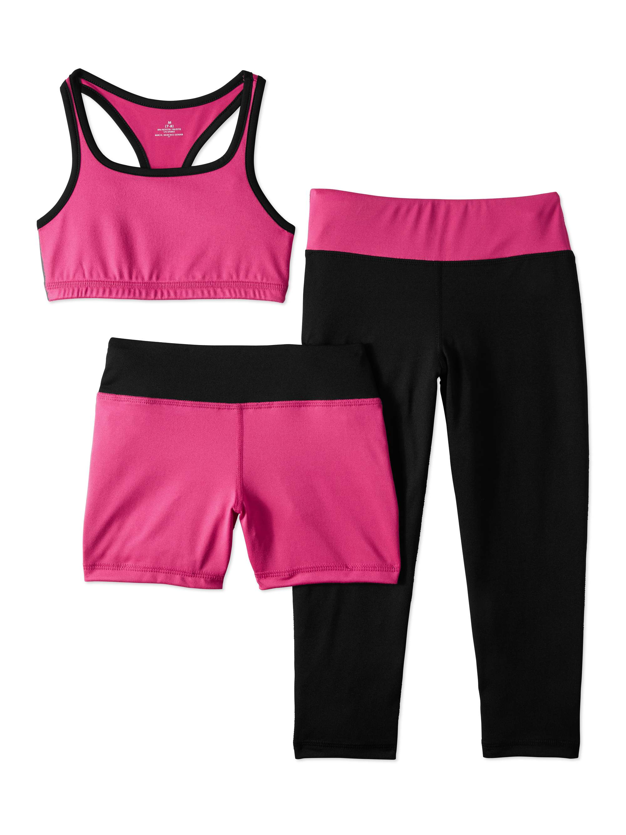 Girls' Performance Sports Bra, Bike Short, And Capri Legging 3-Piece Active Set