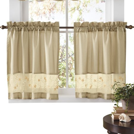 Embroidered Vines Fairfield Rod Pocket Kitchen Cafe Curtain, 58 X 36, Taupe (Cafe Curtains For Kitchen)