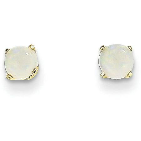 Gold Diamond Created Opal Earrings - Opal 14kt Yellow Gold 4mm October Post Earrings