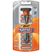 BIC Hybrid 3 Comfort, Men's Disposable Razor with 6-Count Cartridges