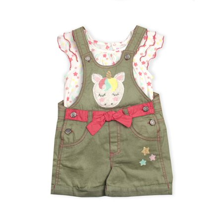 Unicorn Applique Shortall and Star Tee, 2-Piece Set (Little (Christening Shortall)