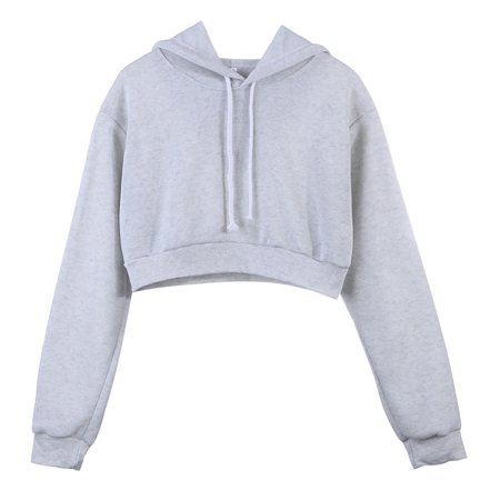 Women Hooded Short Hoodies Sweatshirts Crop Tops Sweater Long Sleeve Sports Pullover Tops Light gray S (Cropped Long Sleeve Sweater)