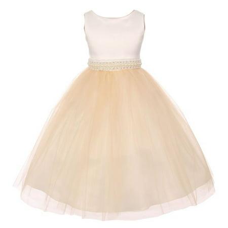 Little Girls Champagne Satin Glitter Waist Illusion Material Flower Girl Dress 2T-6 ()