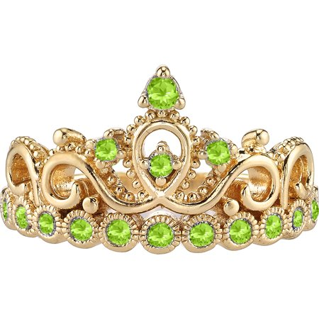 14K Yellow Gold Peridot Crown Ring (August) (Studs 14k Gold Jewelry Rings)