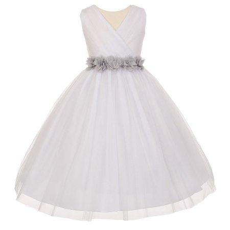 Little Girls White Silver Chiffon Floral Sash Tulle Flower Girl Dress 2](Silver Little Girl Dresses)