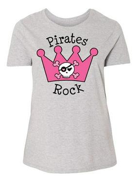 bcb122de01d Product Image Pirates Rock Pink Crown Women s Plus Size T-Shirt. Inktastic