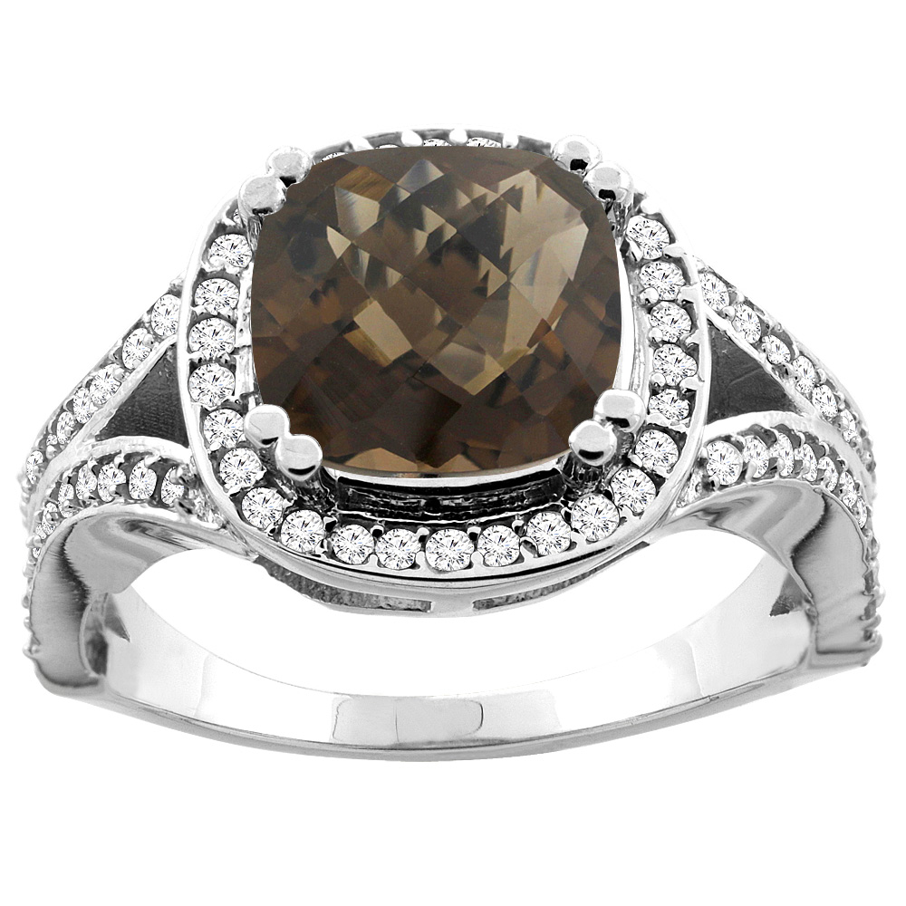 10K White Gold Natural Smoky Topaz Split Ring Cushion 8x8mm Diamond Accent, size 8.5 by Gabriella Gold